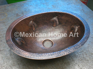 Custom Copper Lavatory with Horse Motif Antique patina 2