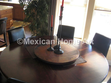 """Custom Copper Lazy Susan 27"""" with candles in customer's home"""