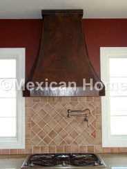 Custom Copper Range Hood somber patina wall mount installed