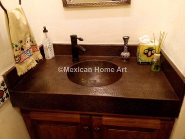 Custom Copper Counter and Integrated Sink with Motif for DR