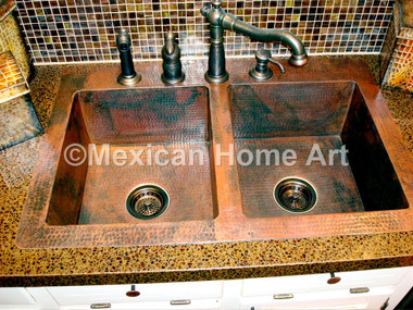 "Custom Drop-In Double well kitchen sink installed with 4"" back lip for TA top view"