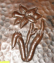Copper Tile Daffodil Motif