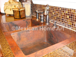"""Custom Drop-In Double Well Kitchen Sink 33x22x9 installed with 4"""" back lip for TA corner view"""