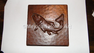Copper Tile Fish Motif