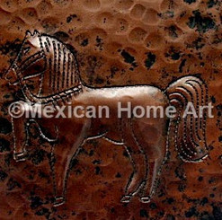 Copper Tile Horse Motifs