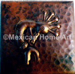 Copper Tile Kokopelli Motif in somber patina