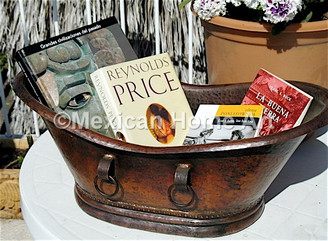 Miniature Copper Bath Tub for display with books