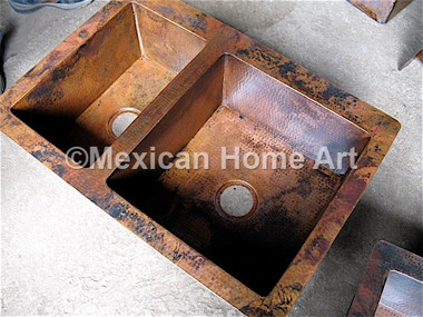 Copper Old Natural Patina example using corner view of double well drop in kitchen copper sink