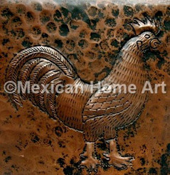 Copper Tile Rooster Motif