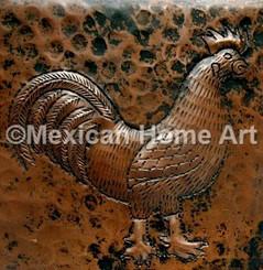 Copper Tile Rooster Motif 2