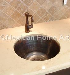 Showroom vanity copper sink for DB under mount close up