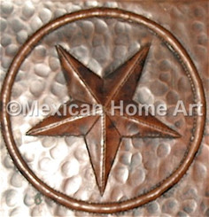 Copper Tile Lone Star Motif Somber patina