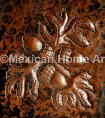 Copper Tile Acorns Motif somber patina