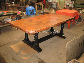 Copper Table top with Wood base for restaurant corner view