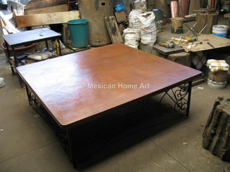 Copper Table Top Square 60X60 rounded corners somber patina seats 8 corner view