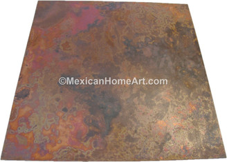 60 x 60 inch Old Natural Square Smooth Waxed Copper Table Top 1