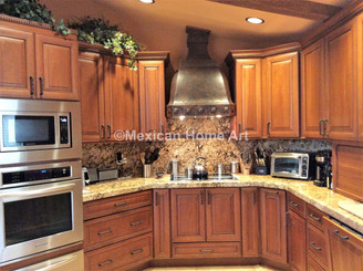 Custom Copper Range Hood Wall Mount installed