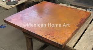 Copper Table Top Square 48X48 inch Somber Patina and 90 degree corners in a customer's house