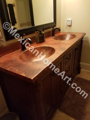 Custom Copper counter with two integrated bathroom sinks old natural patina