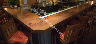 Long Copper Bar Top in the Sheraton Hotel Albuquerque close up view Somber Patina