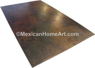 72x36 Rectangular copper table top Somber smooth waxed