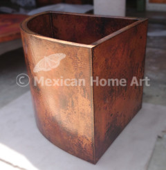 "Copper Corner Tub 38"" x 38"" x 34"" side view Old Natural Patina"
