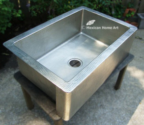 33X22X9 Single well Nickel Plated Copper Farmhouse Sink corner view