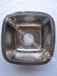 Nickel Plated Copper Bar/Prep Sink 15X15X7 top view 1.5 inch drain hole