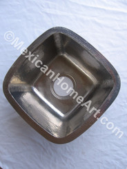 Nickel Plated Copper Bar/Prep Sink 18X18X8 top view 1.5 inch drain hole