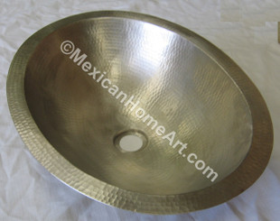 Nickel Plated Copper Vanity Sink Round 15X6 1.5 inch drain hole top view