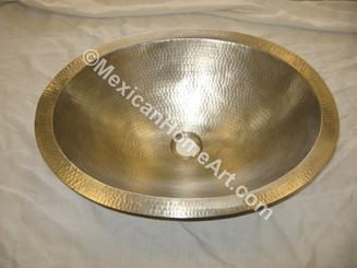 Nickel Plated Copper Vanity Sink Round 17X6 1.5 inch drain hole front view