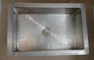 NICKEL PLATED COPPER DROP IN SINGLE WELL SINK 33X22X9 3.5 inch drain hole top view