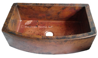 Copper Farmhouse Sink Single Well Rounded Front 36X22X10 Old Natural Patina 3.5 inch drain hole front view