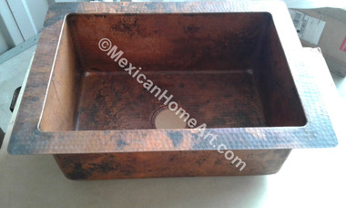 Copper Drop In Single Well Sink 25x18x9 Old Natural Patina front view 3.5 inch drain hole