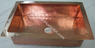 Copper Drop In Single Well Sink 30x20x9 Shiny Patina front view 3.5 inch drain hole