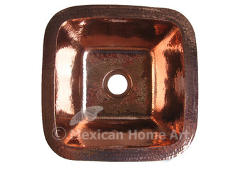 Copper Bar-Prep Sink Square 12x12x5 Shiny Patina top view