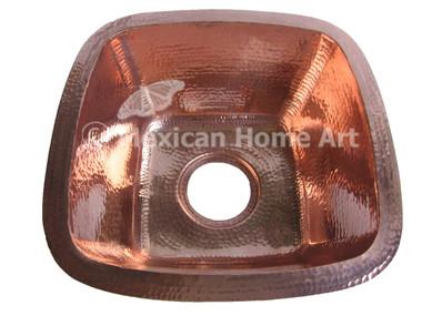 Copper Bar-Prep Sink Square 15x15x7 Shiny Patina top view 3.5 inch drain hole