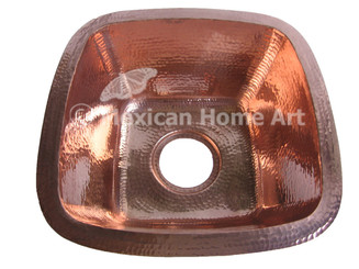 Copper Bar-Prep Sink Square 15x15x7 Shiny Patina top view 3.5 inch drain hole