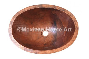 Copper Vanity Bath Sink Oval 19x14x6 Old Natural Patina top view