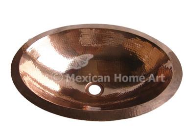 Copper Vanity Bath Sink Oval 19x14x6 Shiny Patina top view