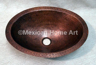 Copper Vanity Bath Sink Oval 19x14x6 Somber Patina top view 1.5 inch drain hole