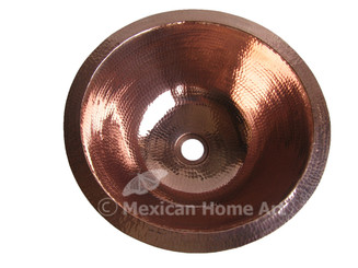 Copper Vanity Bath Sink Round 15x6 Shiny Patina top view 1.5 inch drain hole