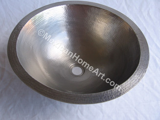 Copper Vanity Bath Sink Round 15x6 Nickeled and protective coated front view 1.5 inch drain hole