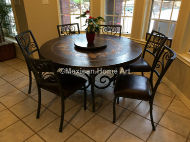"""Custom Table Top with """"Celaya"""" Base and Chairs for GH"""
