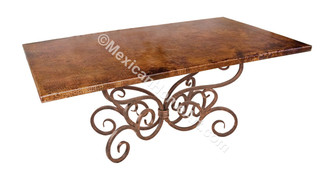 "Copper Dining Table Rectangular 60x40 ""Celaya"" Old Natural Patina"
