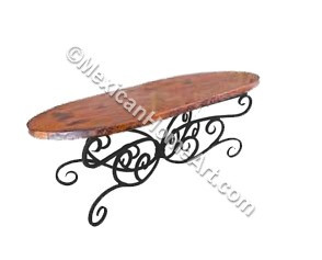 "Copper Dining Table Oval 40x60 ""Celaya"" Old Natural Patina"