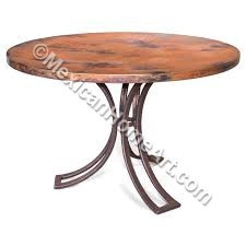 """Copper Dining Table Round 48 """"Zacapu"""" Old Natural Patina"""