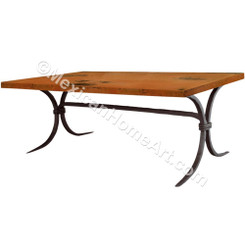 "Copper Dining Table Rectangular 42x72 ""Zirahuen"" 90 degree corners Old Natural Patina"