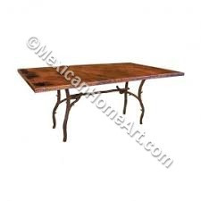 "Copper Dining Table Rectangular 42x72 Oval 44x72 ""Huerta"" 90 degree corners Old Natural Patina"