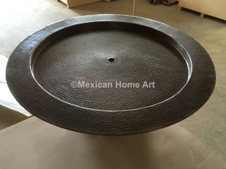 Copper Warming Bowl for Outdoor Fireplaces SHown in Somber Patina